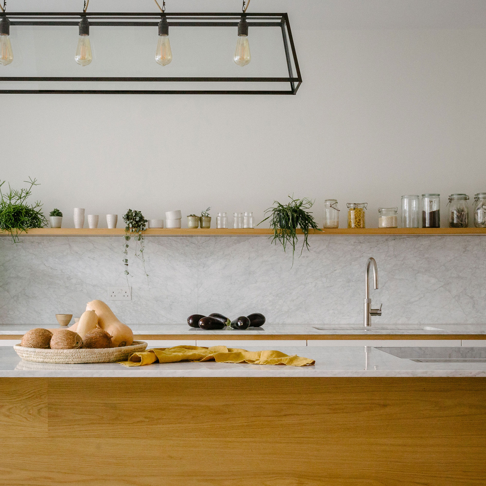 walnut, cupboards, kitchen, bespoke, plants