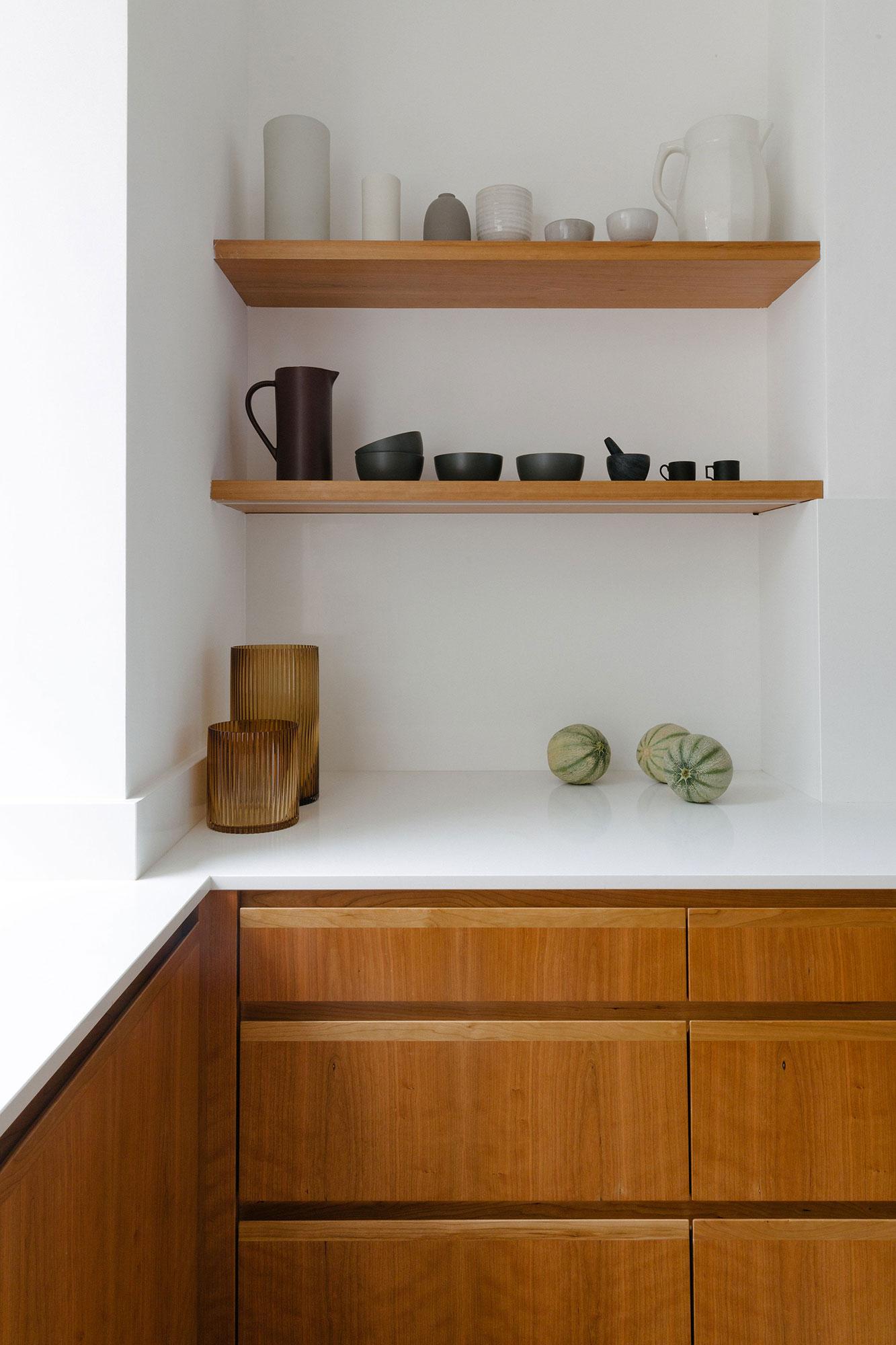 cherry veneer kitchen with shelves