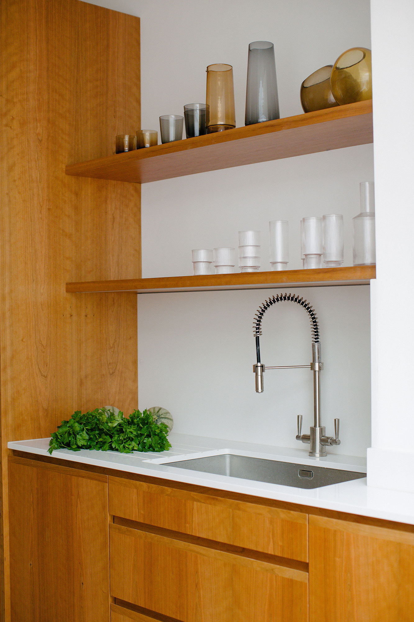 bespoke kitchen shelves and tap