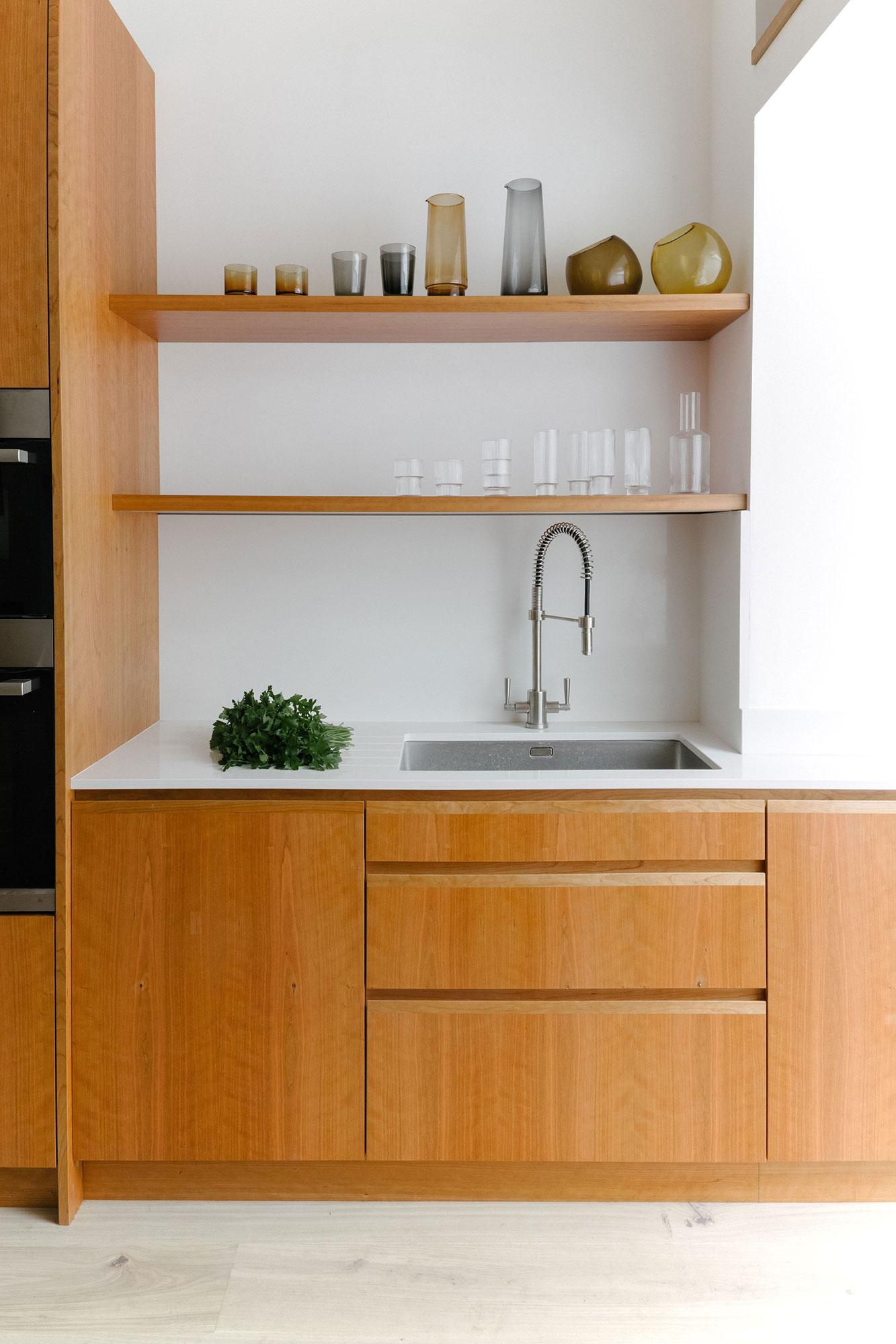 beautiful cherry veneer sink and shelves