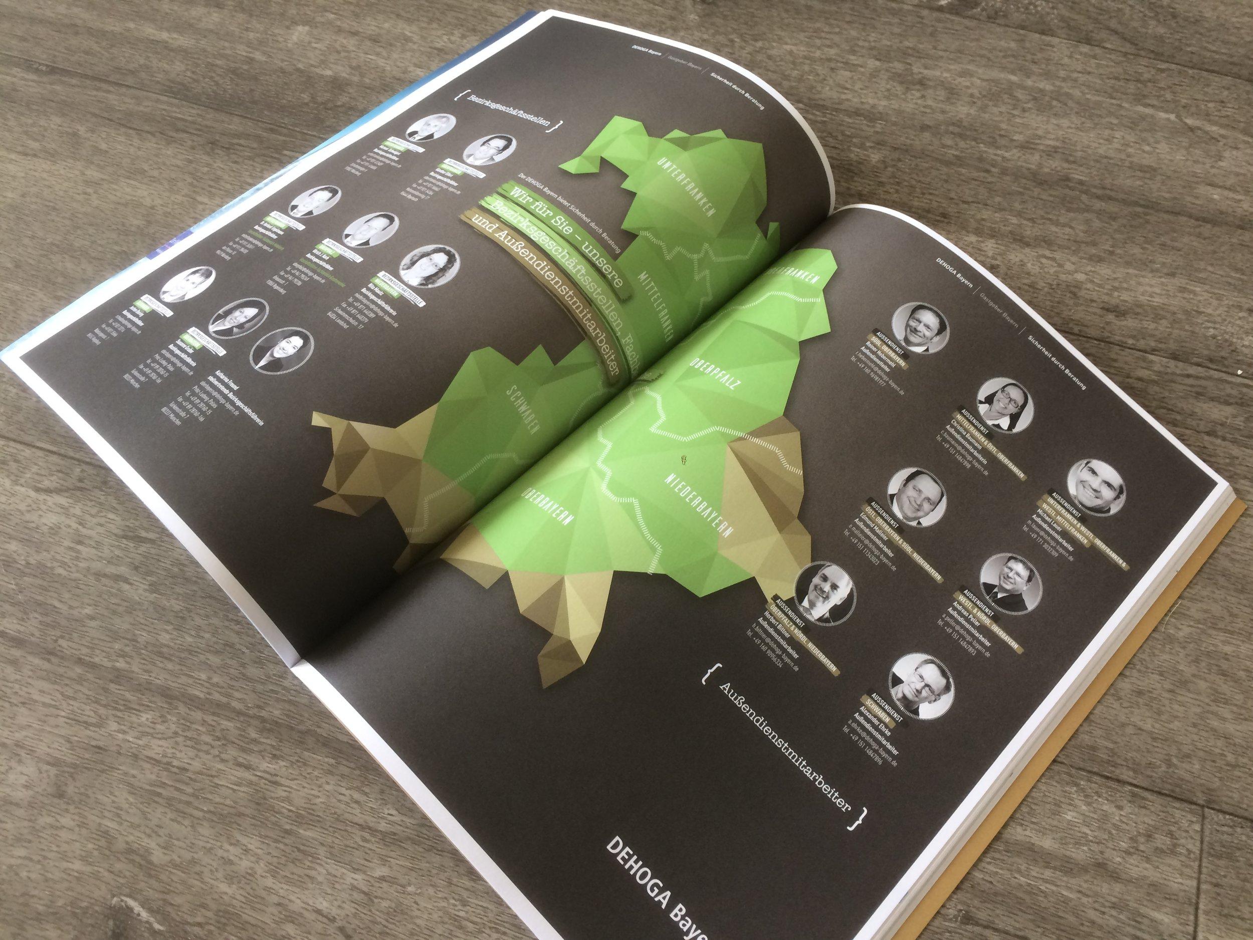>    4 Ausgaben pro Jahr  >    Auflage: 15.000 Exemplare  >    offizielles Organ des DEHOGA Bayern  >    Konzeptentwicklung  >    Erstellung von Redaktion & Layout