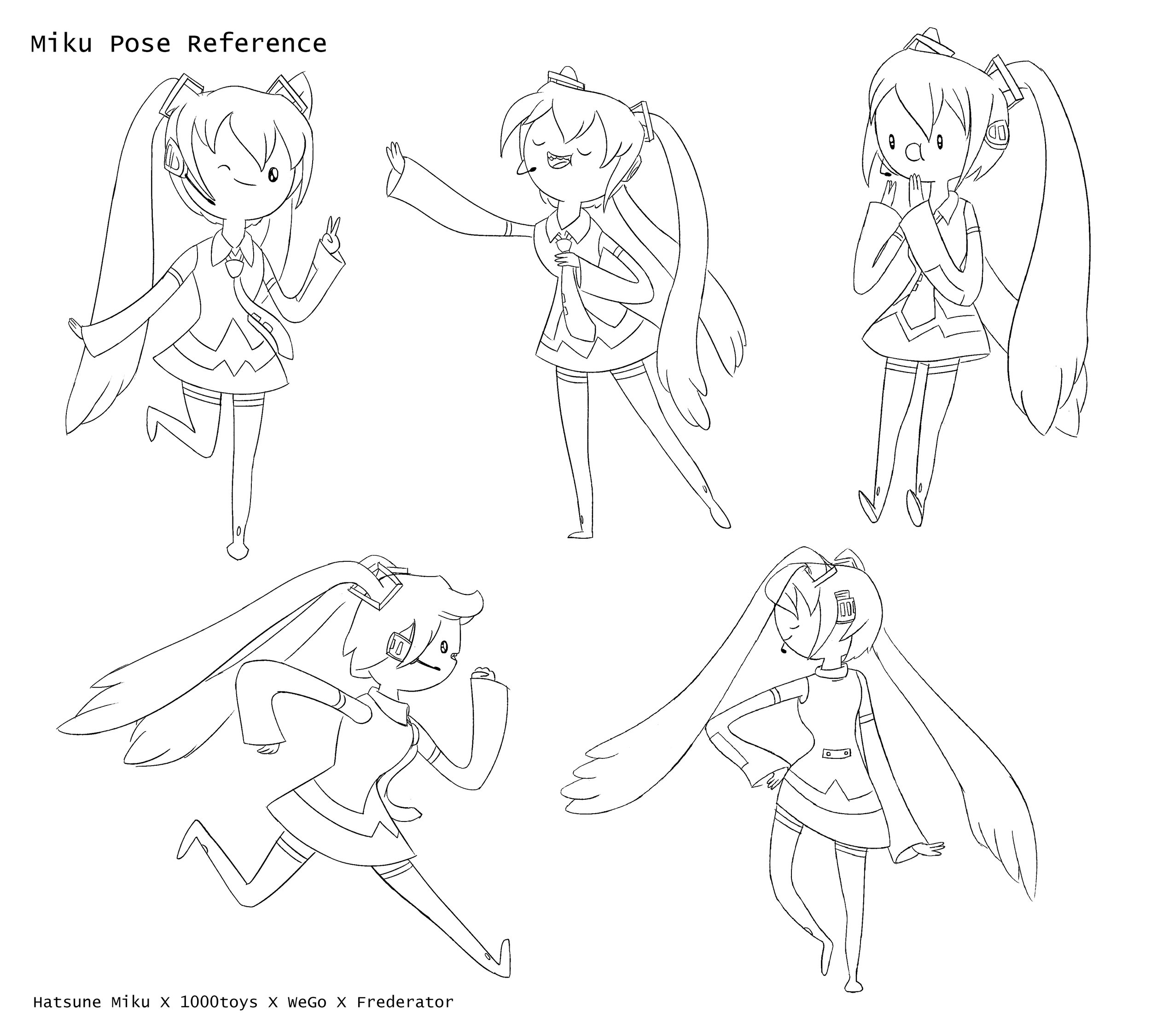The Miku character in varying reference poses