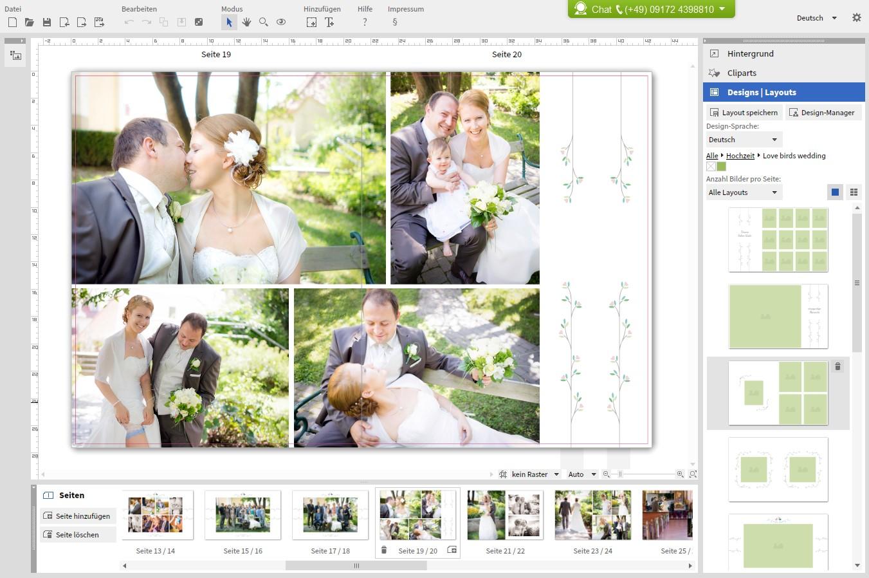 Rechts die verschiedenen Seitenlayouts. Ganz hilfreich um schnelle Anordnungen von Fotos vorzunehmen