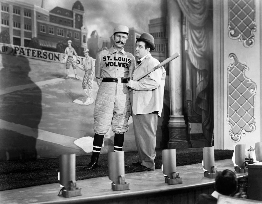 """Bud Abbott (l.) and Lou Costello (r.) perform """"Who's on First""""in the film  The Naughty Nineties  (1945)"""