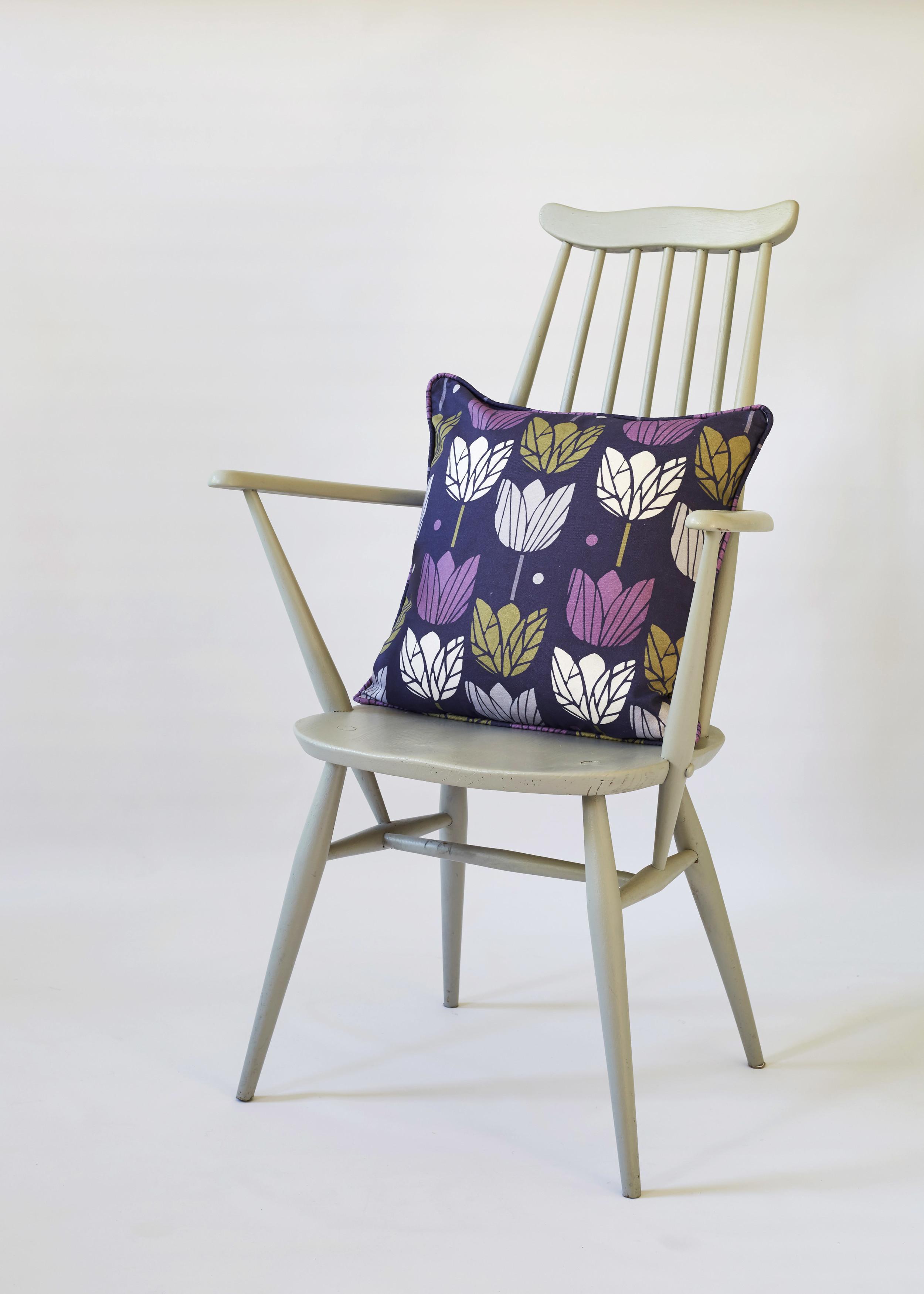 cushion in purple tulips fabric.jpg
