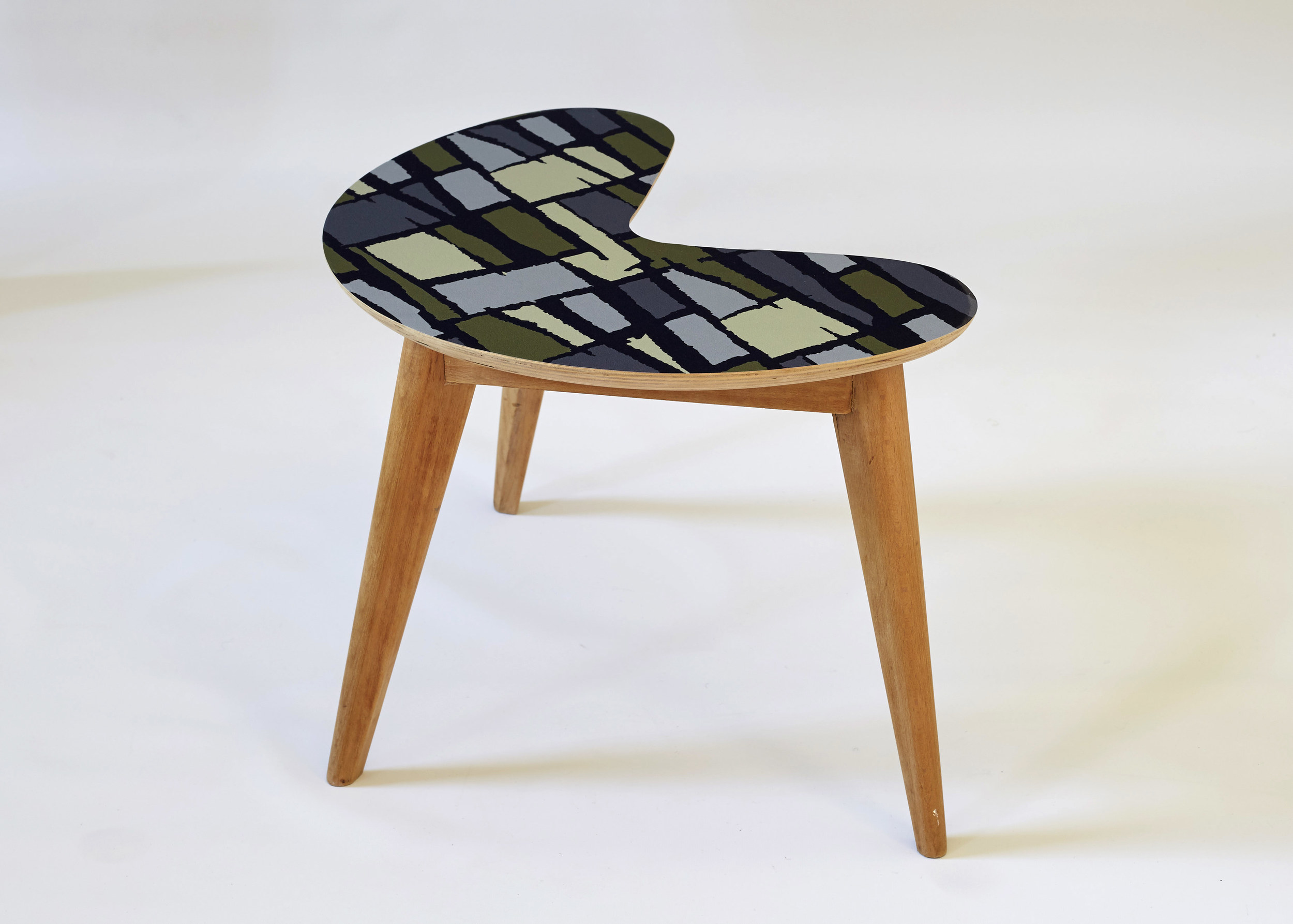 kidney side table with abstract grid vinyl .jpg