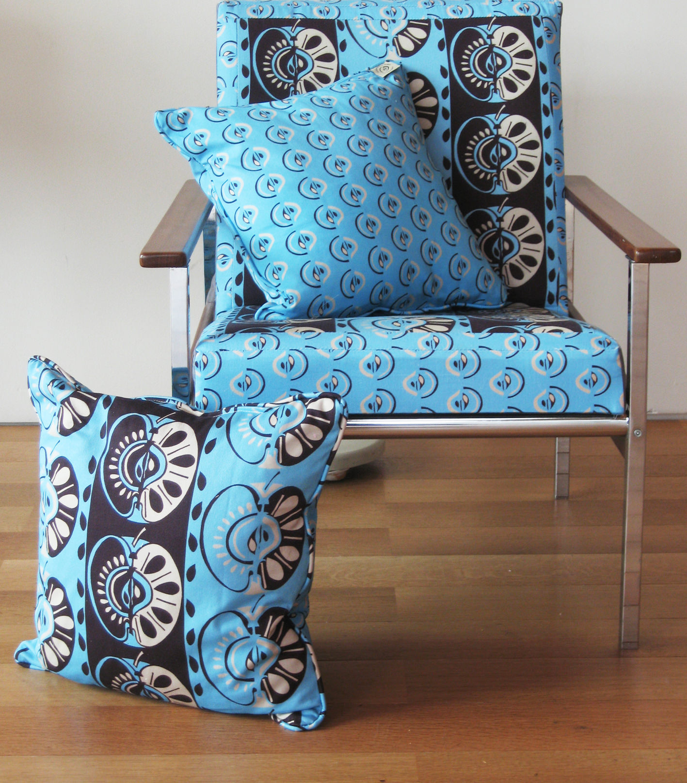 retro chair and cushion in apple blue fabric.jpg