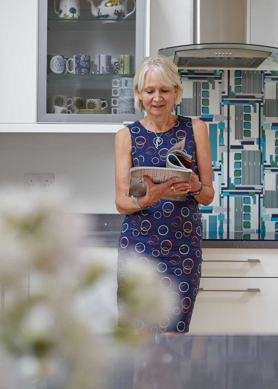 Caroline in her kitchen in Suffolk.