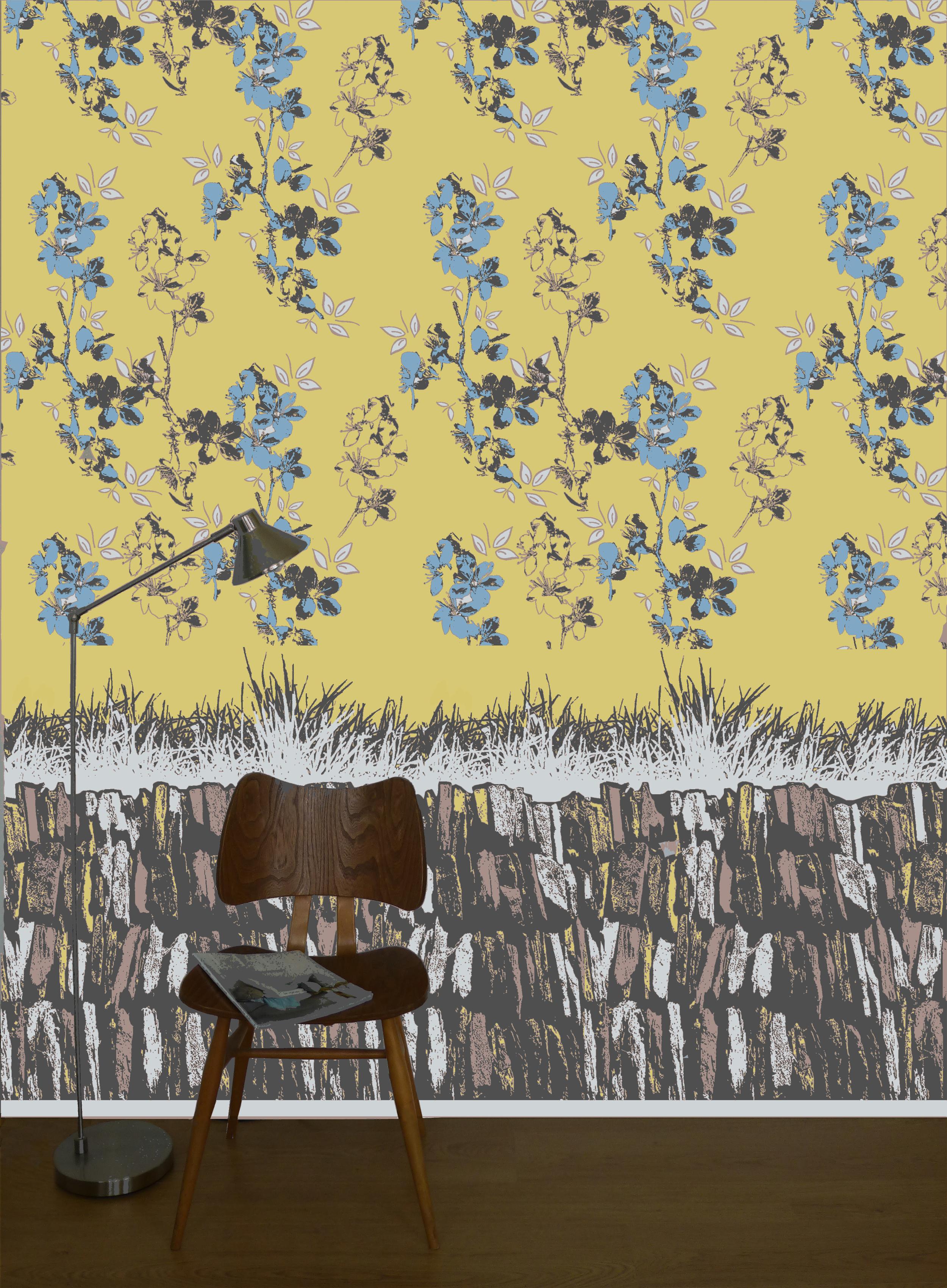 Blossom wallpaper mustard with slate design frieze
