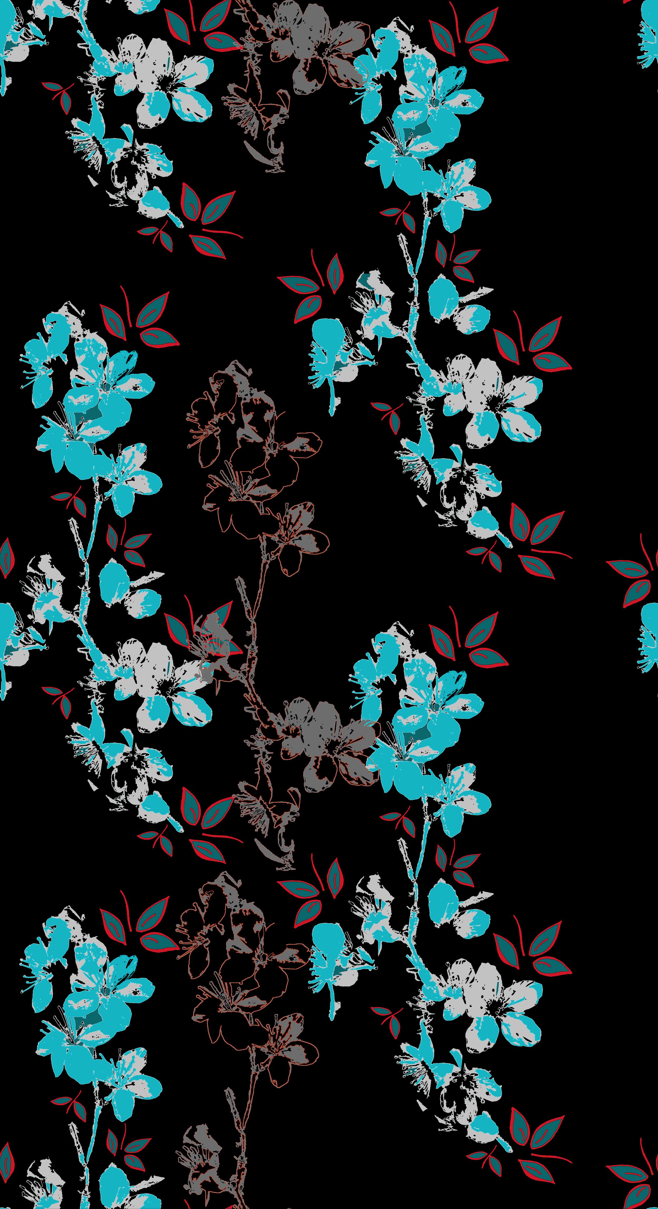 blossom design wallpaper black