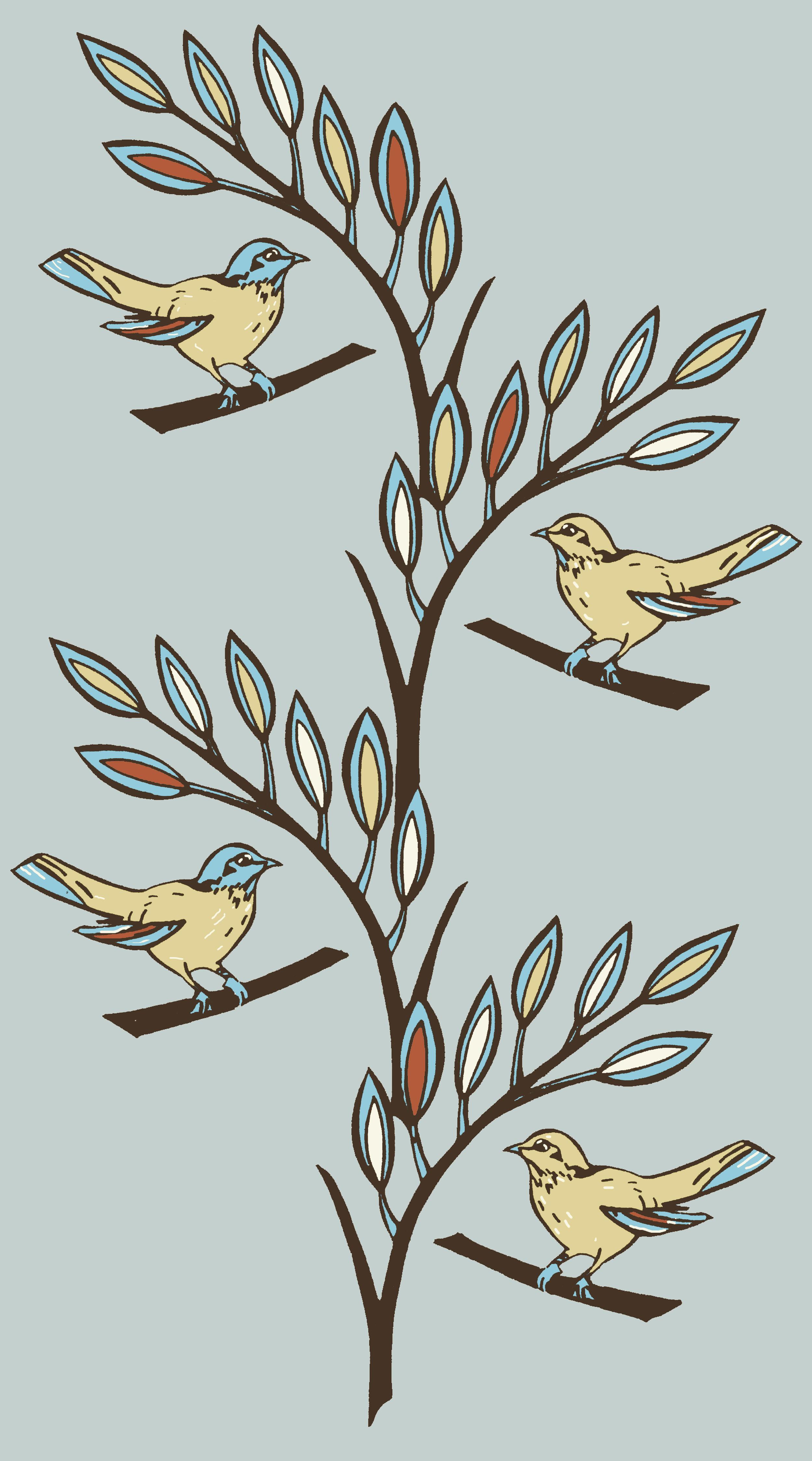Birds on a branch design