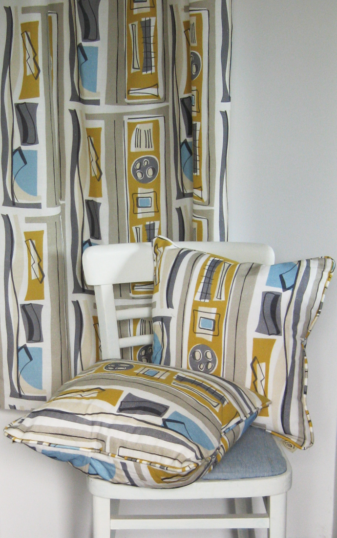 Cushions and curtain in Aerial view design mustard