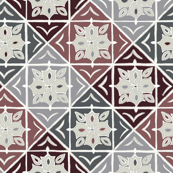 Mosaic tile repeat maroon