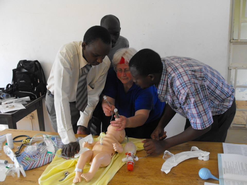 Dr. Georgia teaches the NRP program to doctors at Mbale Regional Referral Hospital, 2013 (photo credit Lisa Umphrey)