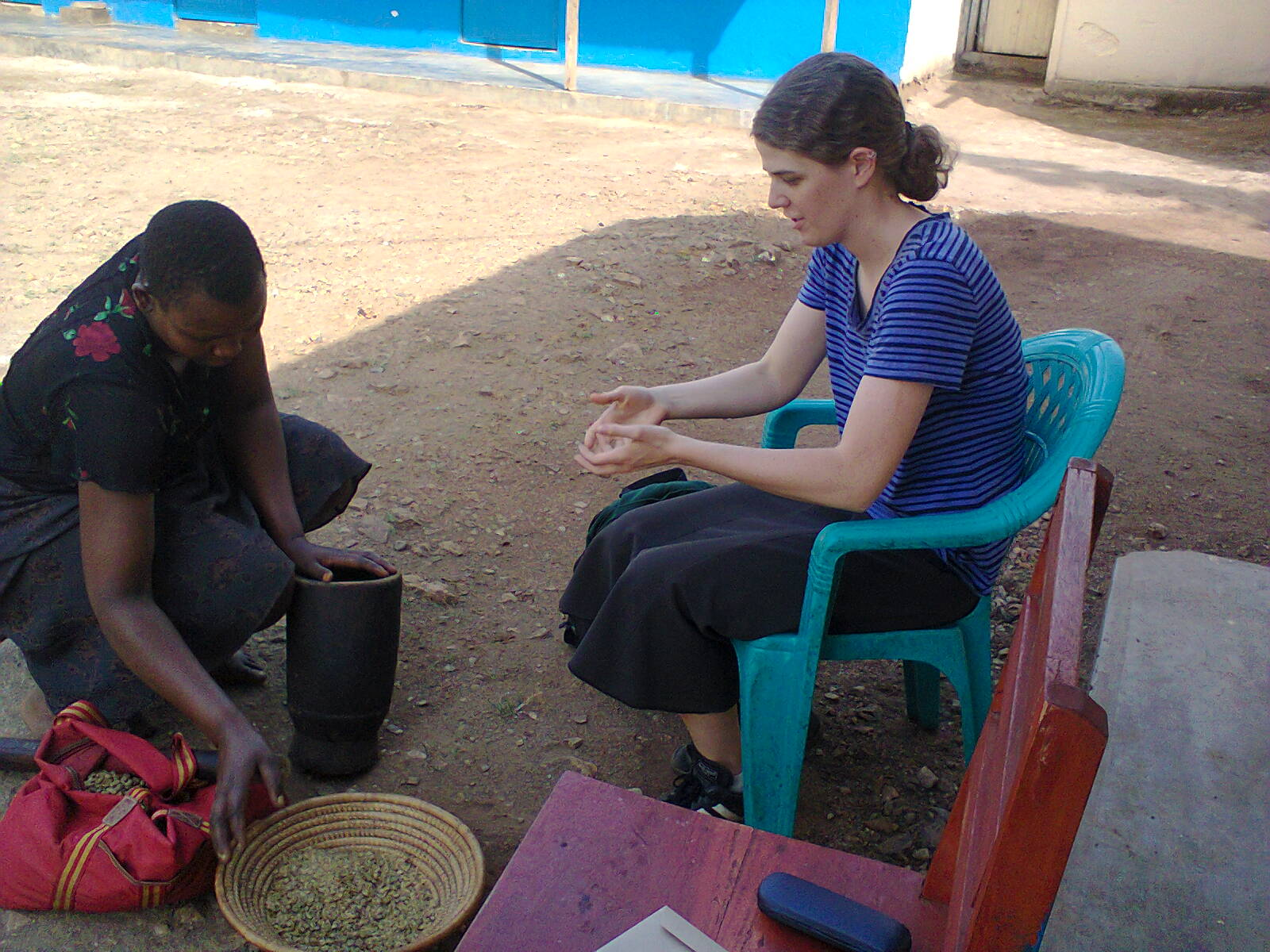 Learning how to prepare and roast Ugandan Arabica coffee