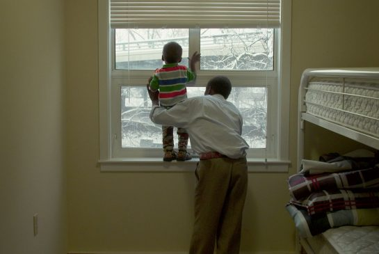 Two refugees featured in the film 19 Days, are shown seeing snow for the first time .