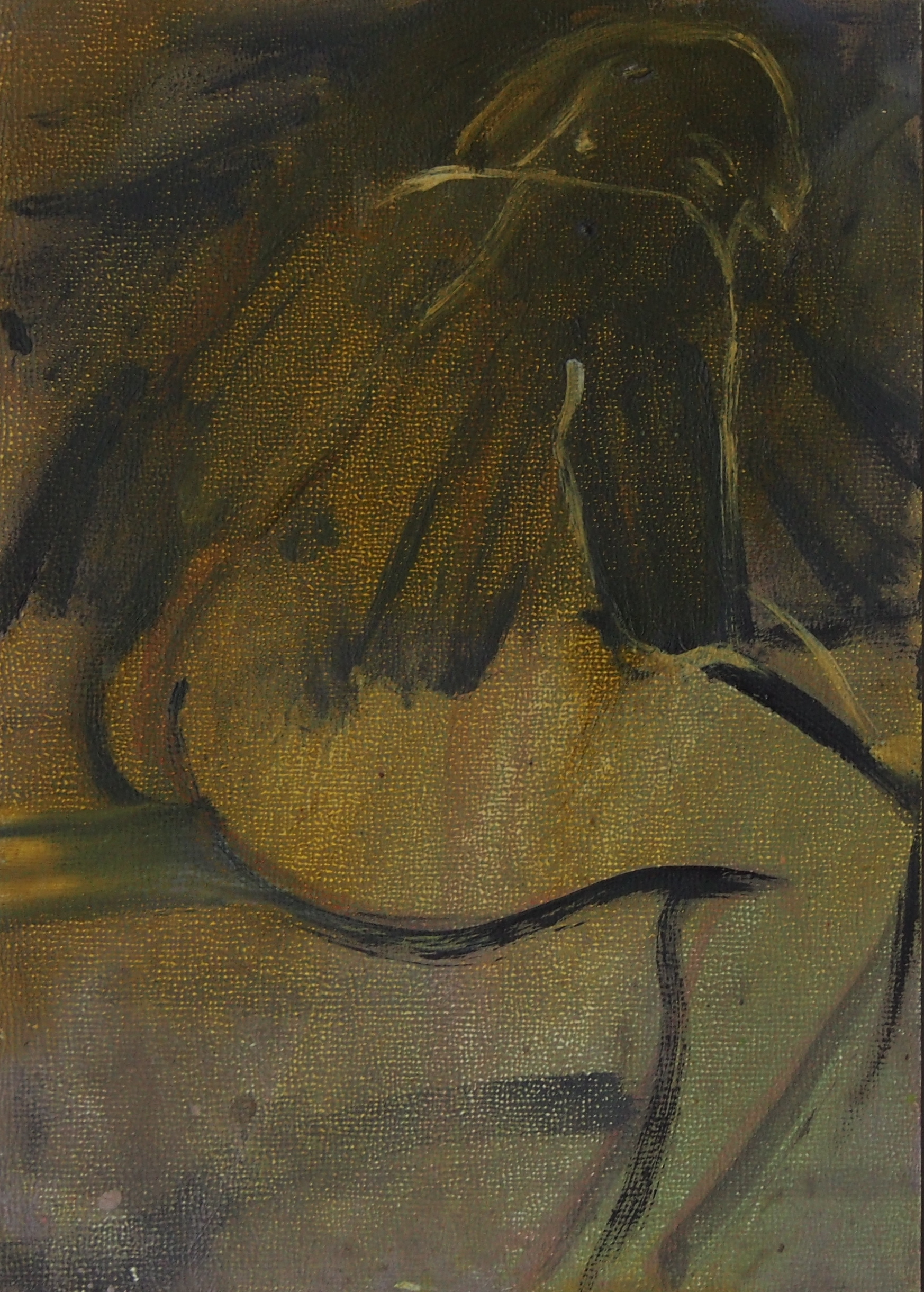 Bum Rub   Oil on board  13.5 x 9.5 cm