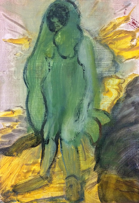 Burdened   Oil on paper  21 x 15 cm