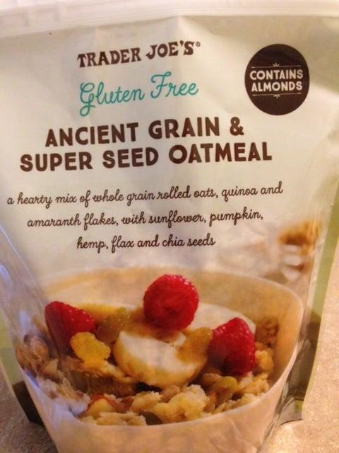 Trader Joe's gluten free ancient grain and super seed oatmeal with oats, quinoa, amaranth, quinoa, sunflower seeds, pumpkin seeds, and chia seeds