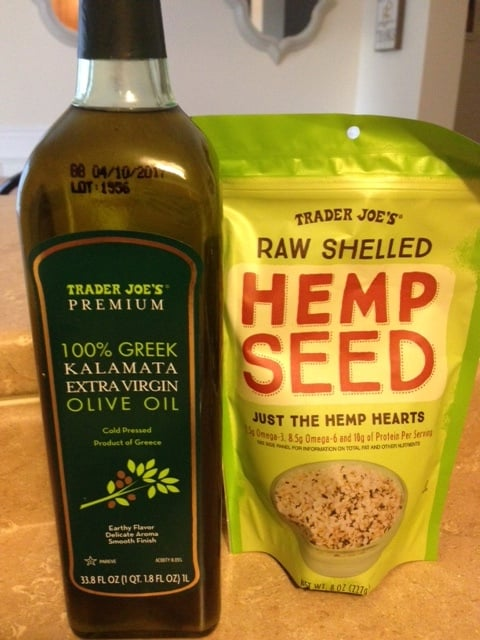 Trader  Joe's extra virgin kalamata olive oil and hemp seed hearts
