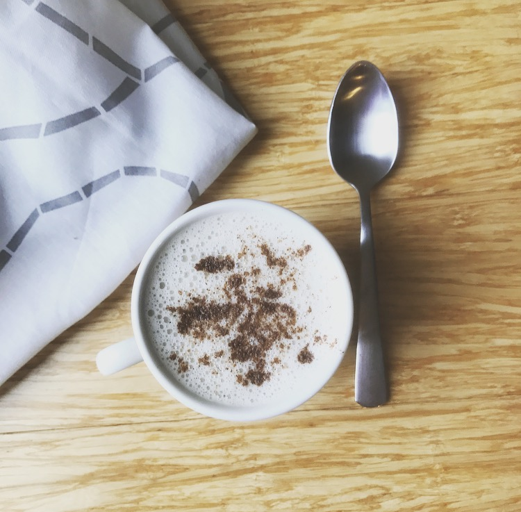 coconut almond adaptogen latte by IIN health coach, life coach, wellness expert Andrea Rennie of GROW in ithaca, NY. Recipes for a broken heart, adrenal support, adrenal fatigue, latte.