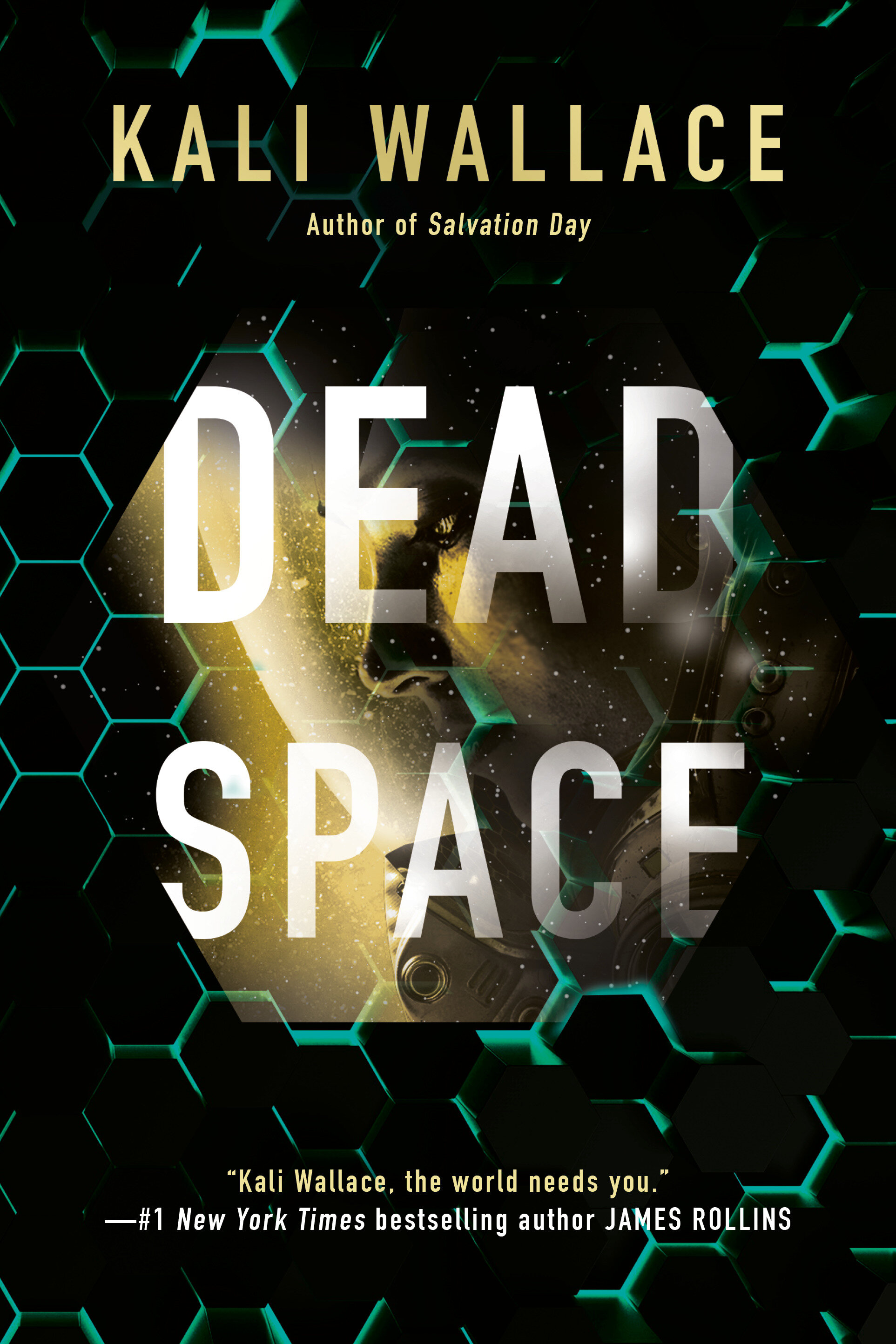 cover: a calm green geometric pattern over a black background, simulating the dark of space. in the middle: the face of a woman, clearly in a spacesuit.