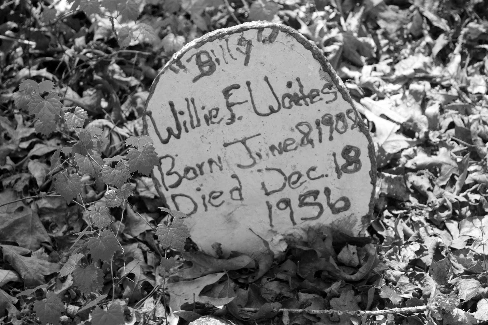 Willie Waits Grave in the Flat Rock Cemetery