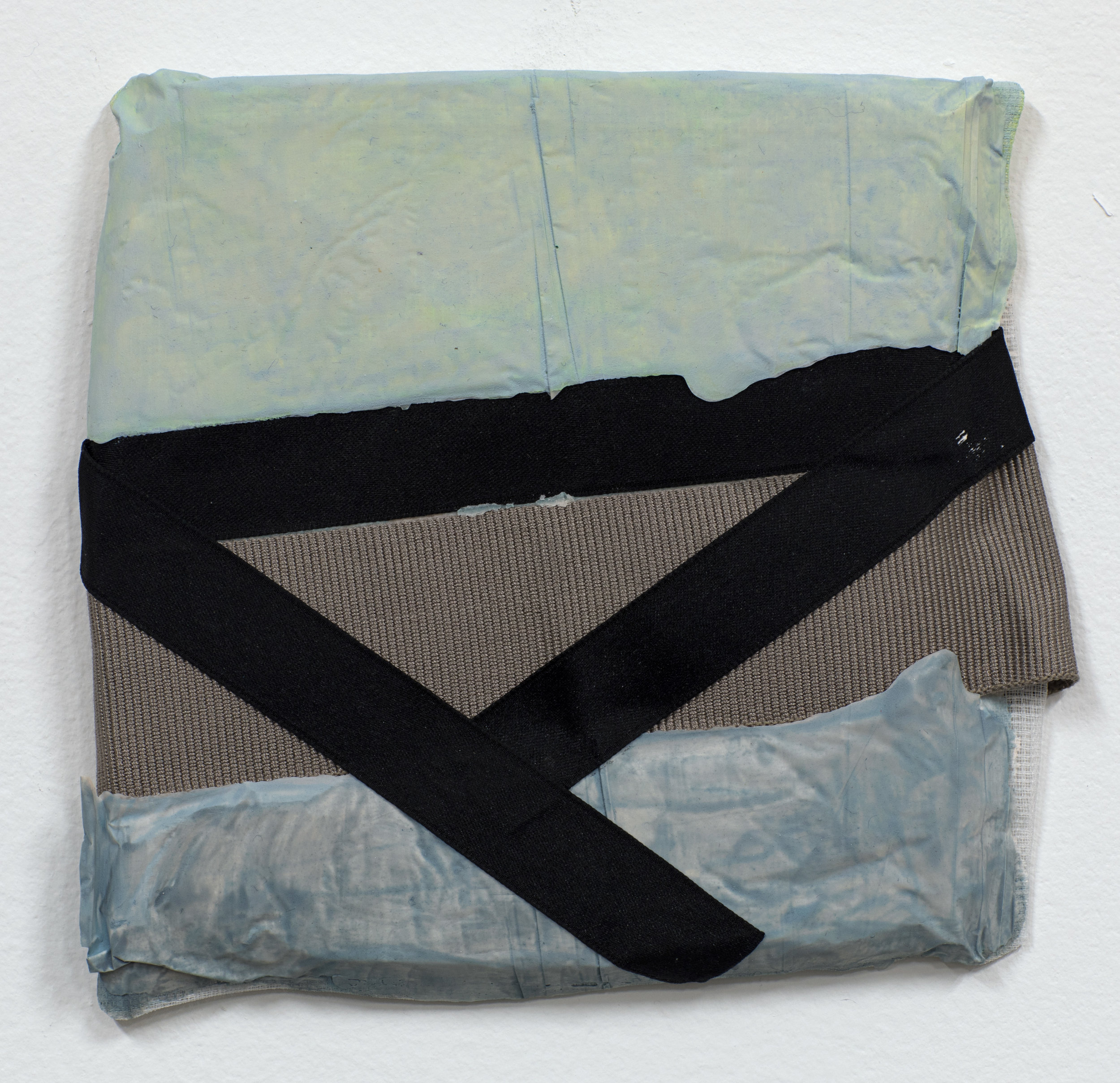 AquaResin, fabric, ribbon, acrylic, and Flashe, 2019