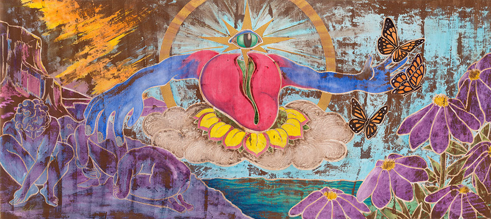 """Raising Consciousness (SOLD)  80"""" x 36"""" - Watercolor and Gold Leaf Enamel on Wood Panel"""