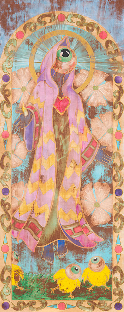 "The Purpose of Gods  32"" x 80"" - Watercolor and Gold Leaf Enamel on Wood Panel $2,800 Unframed"