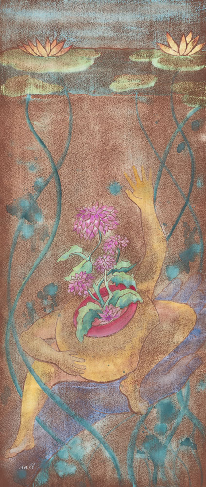"""Birthing the Joyful Self (study) (SOLD)   Watercolor and Prismacolor on Acid-Free Cotton Paper  Image Size: 11.5"""" x 26.75"""" - Framed Size: 19.5"""" x 34.5"""""""