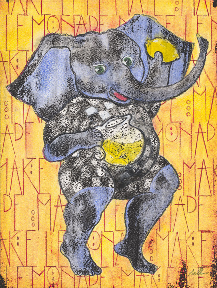 "Ganesha's Advice (SOLD)  Mixed Media on Acid-Free Cotton Paper  Image Size: 9"" x 12"" - Framed Size: 15"" x 18"""