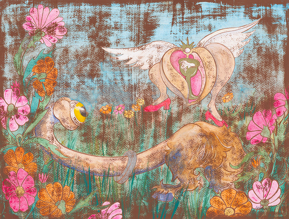 "The Seeker and the Grail   Mixed Media on Acid-Free Cotton Paper  Image Size: 24"" x 18""  -  Framed Size: 33"" x 27""  $3,000 Framed"