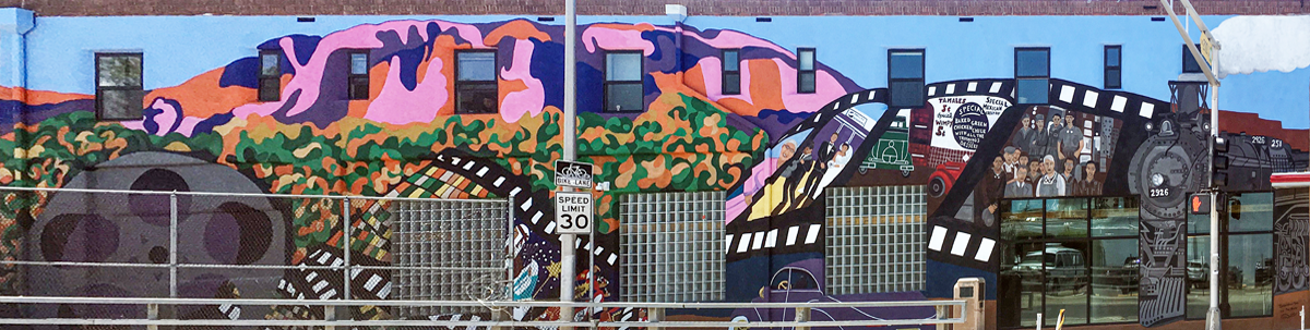 In the Orpheum Community Hub mural, a vista of the Sandia Mountains crowning the treetops of our beautiful Rio Grande Bosque reminds us that despite the changes a neighborhood experiences, the beauty of our city is constant.