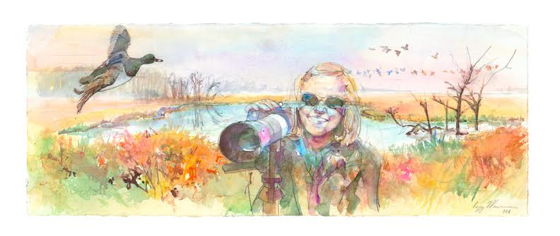 If you've ever enjoyed the beautiful bird photography on our website, in our newsletter, or on our social media, chances are it was a photo by Arlene! Painting of Arlene by Peggy Macnamara.