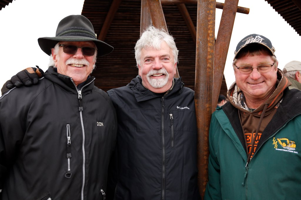 The creativity and brawn behind Wingspan: Don Schmidt (metal artist), Jim Gempeler (archictect), and Louie Meister (earthworks).