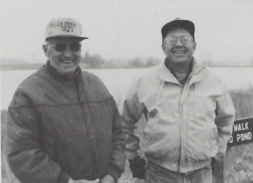 Robert Lerch (left) lived at Goose Pond for 20 years before selling to Madison Audubon in 1968. He reminisces with Mark Martin, Sanctuary resident co-manager. Image from MAS December 1994 newsletter