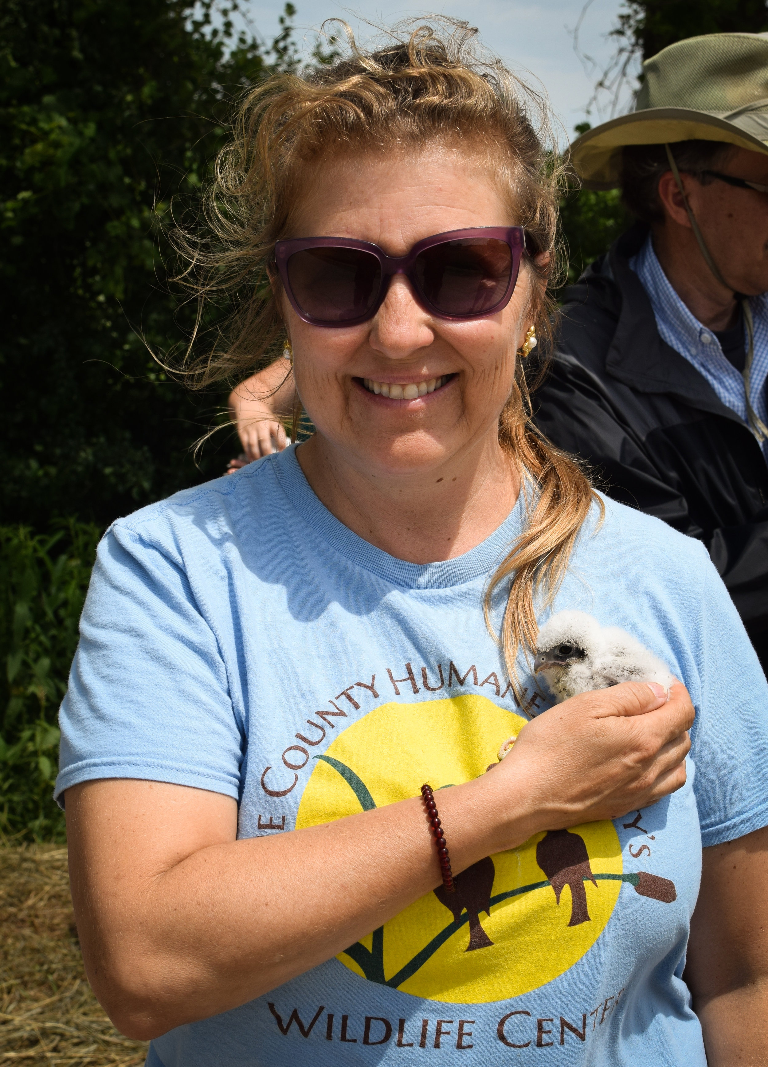 Volunteer Stacy Taritas served as a caregiver for the orphaned chicks and as the liaison between the Dane County Humane Society's Wildlife Center, Madison Audubon Society, and Central Wisconsin Kestrel Research program. Photo provided by Stacy Taritas. June 15, 2018