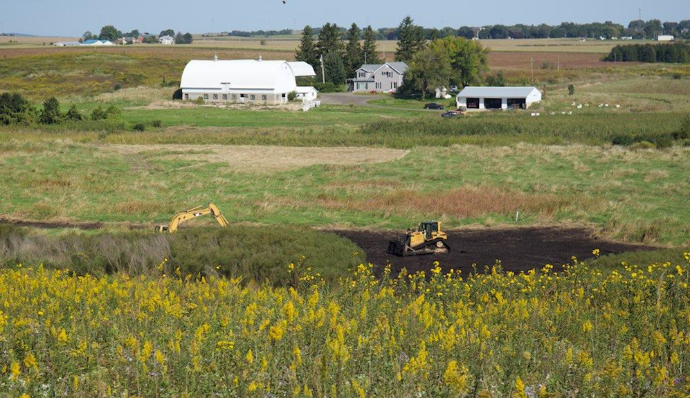 Overview of Goose Pond Sanctuary's newest restoration project: wetland scrapes. Photo by Arlene Koziol