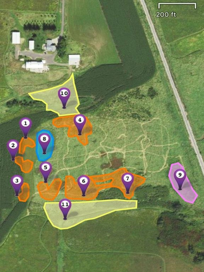 Map of Goose Pond Sanctuary scrape construction. See chart below for more details.