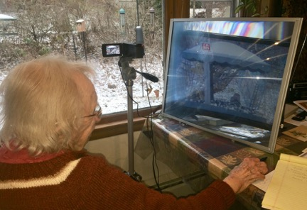 Dorothy's enhanced birdwatching station at work! Photo by Pat Ready
