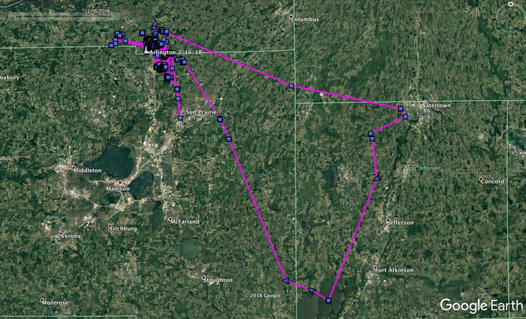 A map of Arlington's extensive travels while in Wisconsin. Image provided by Project SNOWstorm.