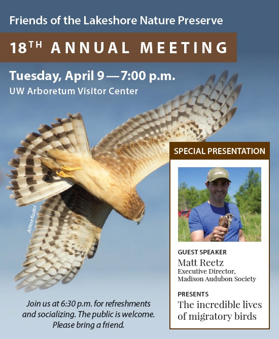This presentation is hosted by the Friends of the Lakeshore Nature Preserve and open to the public. April 9, 7pm, UW Arboretum