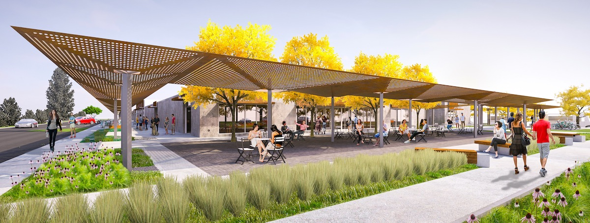 A rendering of the 8th Street Market outdoor area where food and entertainment will be offered when the project opens in early 2017. The project is a multimillion dollar investment initiative by the Walton Family Foundation and members of the Walton Family.