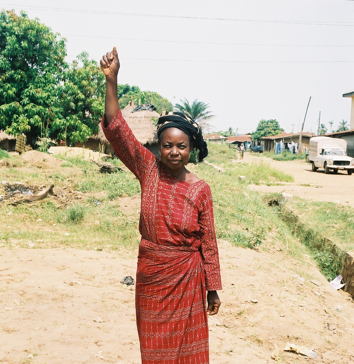 This lady in Nigeria, West Africa lived in a village outside of town.  We went to her village with the message of Jesus Christ.  She believed and was healed of  a paralyzed arm!.jpg