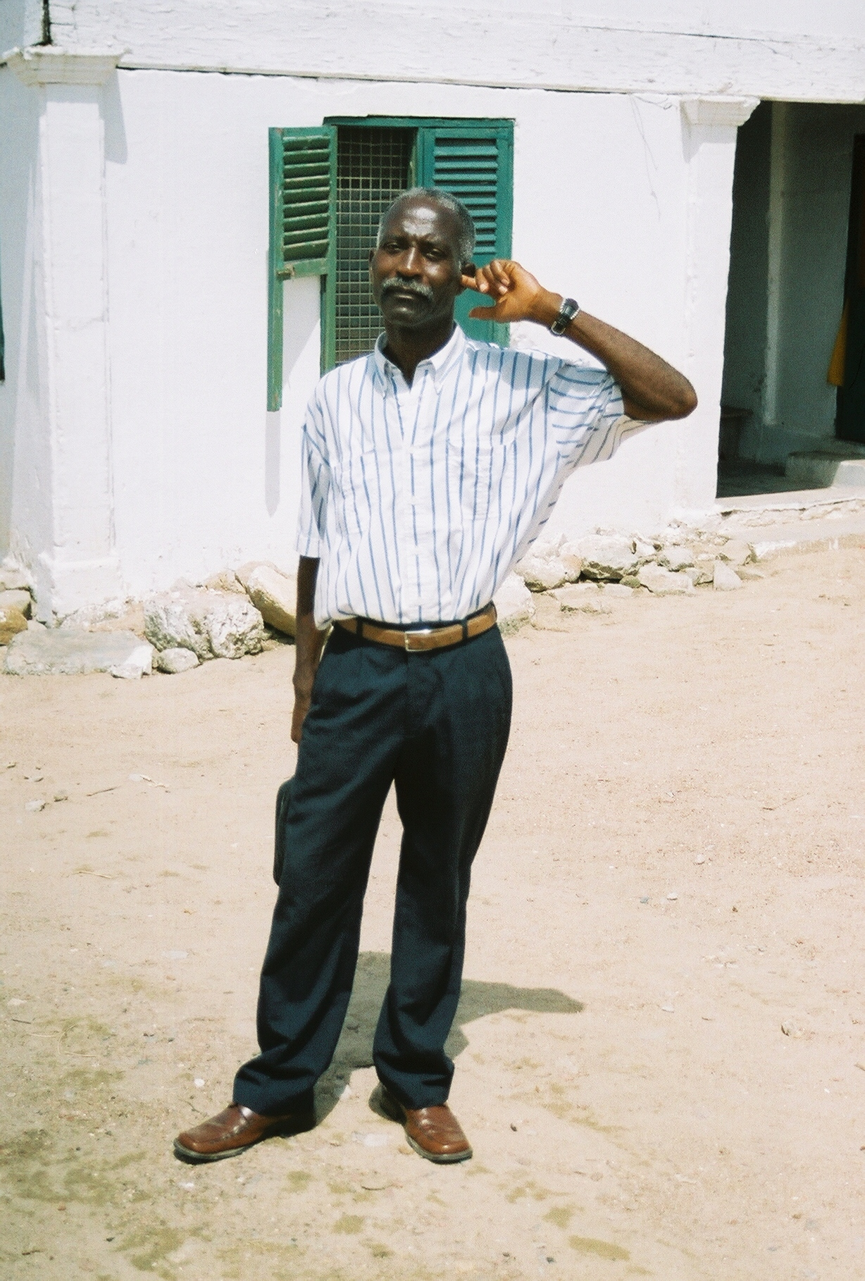 This man was born deaf in one ear but was healed by the power of Jesus in a crusade in Africa.