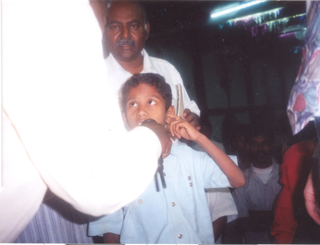 This young boy was deaf in one ear but was healed in a crusade in India.