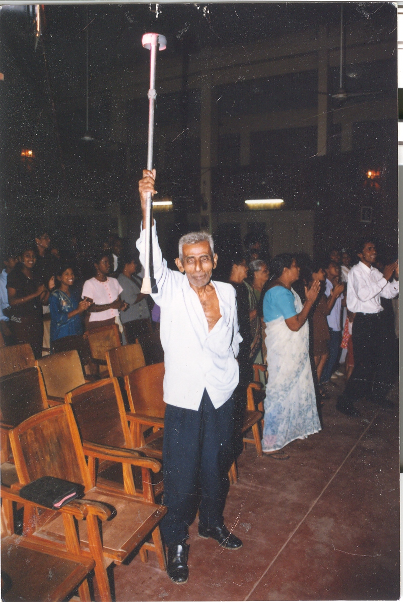 This man walked with a cane but was healed in a crusade in Sri Lanka!