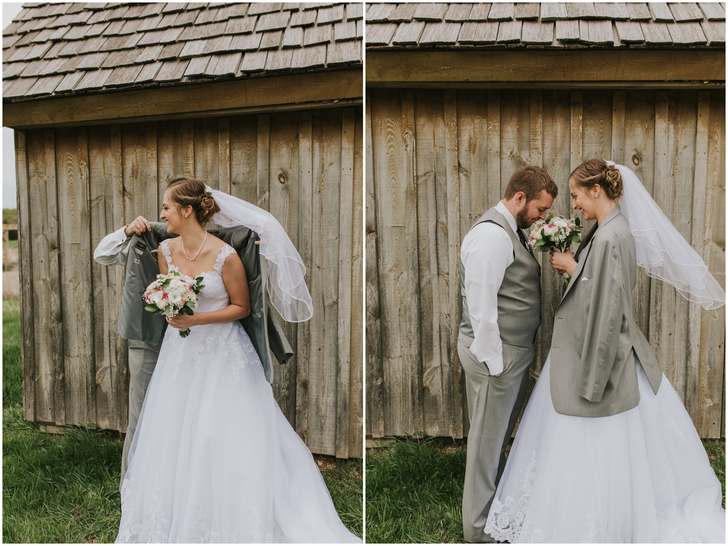 groom giving bride his jacket