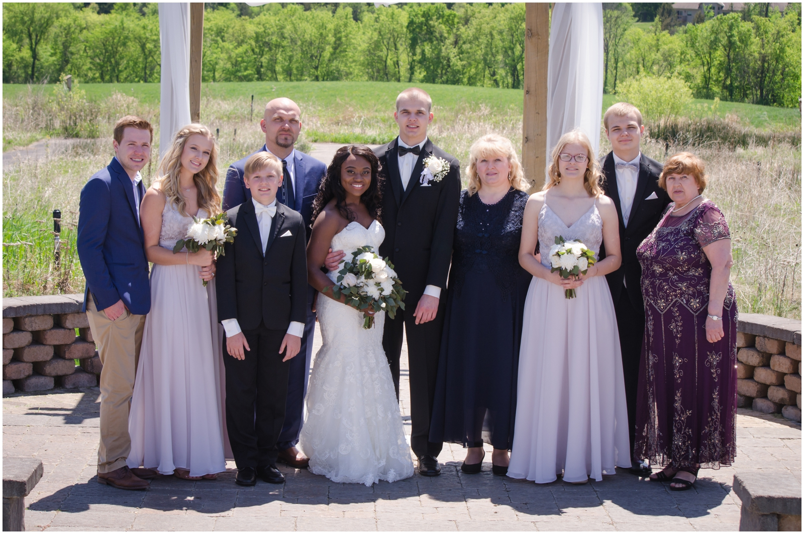 couple's family at the MN wedding